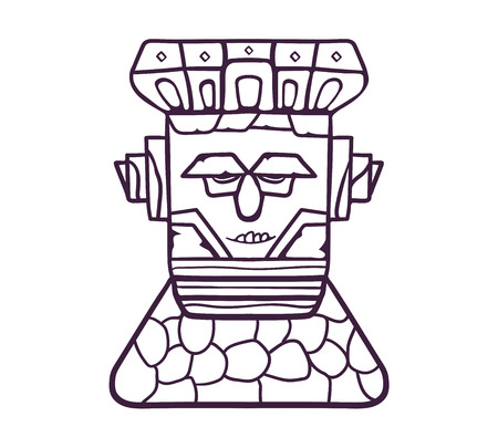 Colorful totem mask. A wooden mask on a stone pedestal, with emotional expressions. Vector linear flat illustration. Hand draw style. 向量圖像