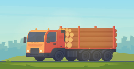 Logging truck with trailer for transportation of raw wood and timber products. Foresty industry. Vector flat illustration. 向量圖像
