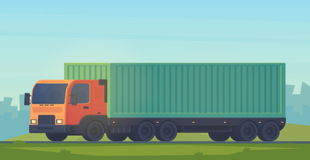 Container truck with a semi-trailer for the delivery of goods on city road. Logistic service. Vector flat illustartion isolatedon white. Çizim