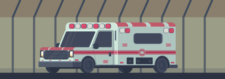 Ambulance car in transport tunnel. The machine for providing the first necessary emergency medical assistance. Vector cartoon illustration.