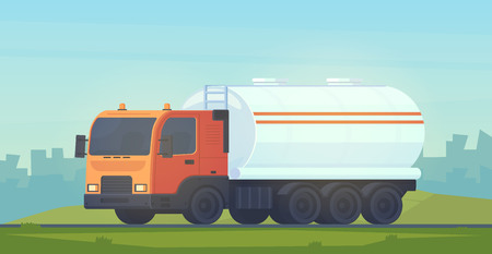 Tank truck transportation, oil, gasoline to gas stations, water and liquid substances. Car with a reservoir for fluid. Summer and spring landscape. Vector flat style illustration.
