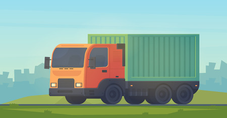 Container truck for delivery of goods. Logistic service.