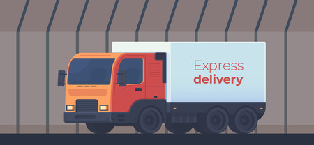 Truck for the delivery of goods in tunnel. Logistic service. Vector flat style