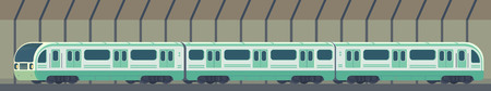 Passanger modern electric high-speed train. Railway subway or metro transport in tunnel. Underground train Vector illustration flat style.