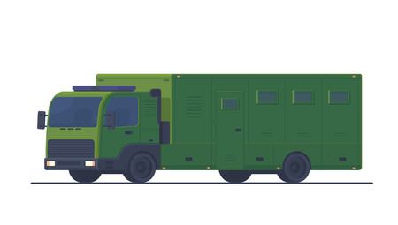 Police special transport for the transport and protection of prisoners and arrested people. Mobile truck prison. Belarusian police transport. Vector illustration.