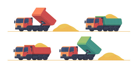 Dumper truck. A set of trucks, unloading and carrying soil and construction materials on building site. Vector illustration isolated on white.