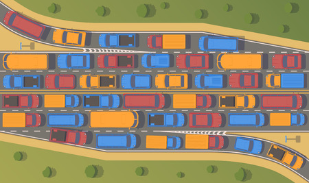 Traffic jam on road junction. Large congestion of cars. Top view flat illustration.
