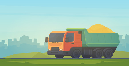Dumper truck. Transportation soil and construction materials on building site. Vector illustration in cityscape.