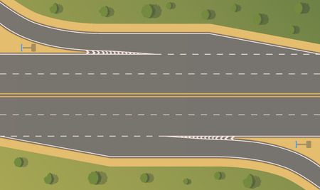 Top view road junction. Right turn branches and congresses.Vector flat illustration. 矢量图像