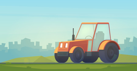Farm tractor. Service vehicle. Heavy machinery for field and earthworks in city.
