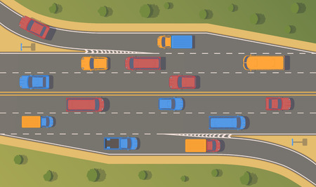Top view road junction. Right turn branches and congresses.