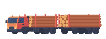 Logging truck isolated on white background. Truck with trailer for transportation of raw wood and timber products. Foresty industry. Vector flat illustration. 向量圖像