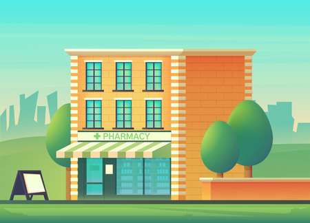 The facade of the pharmacy shop. Magazine for sale of medicines prescription drugs. Vector flat style illustration. 向量圖像