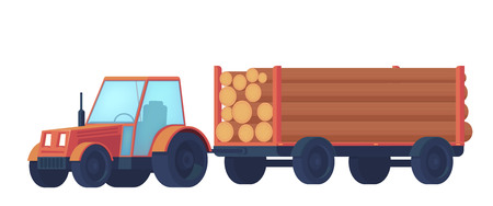 Logging tractor isolated on white background. Tractor with trailer for transportation of raw wood and timber products. Foresty industry. Vector flat illustration. 向量圖像