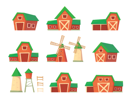 Set of farm building. Red barn. Drinking water tower. Windmill and silo srorage barn for corn and harvest. Cartoon vector illustration