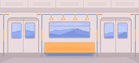 Subway train car inside. Interior with seats, a door for entrance and exit, handrails, window. Nature landscape background.