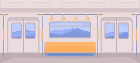 U-Bahn-Wagen im Inneren. Interieur mit Sitzen, einer Tür für Ein- und Ausstieg, Handläufe, Fenster. Naturlandschaftshintergrund. Vektorgrafik