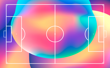 Football or soccer field with heat map for moving and location player during the game. Soccer game statistics or strategy. Ilustracja