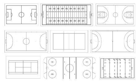 Set of sport field. Handball and basketball court, football or soccer field, ice hockey rink. Volleyball, futsal, mini football and tennis, rugby and american football field. Line art style.