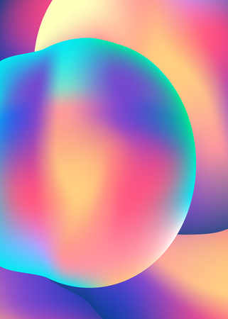 Abstract background with gradient color shapes. Liquid color cover. Holographic element.