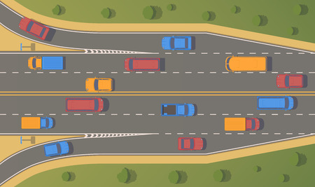 Top view road junction. Right turn branches and congresses.Vector flat illustration. Ilustração