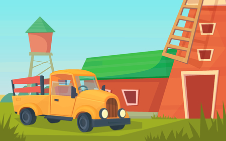Agriculture. Farm rural landscape with orange truck, red barn, house and ranch, water tower and haystack. Vector flat illustration.