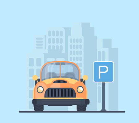 Parking lot with car in city. Sign for parking area