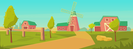Agriculture. Farm rural landscape with red barn, house and ranch, water tower and haystack. Vector flat illustration. Ilustrace