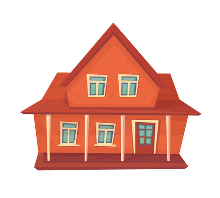Farmer house. Farm building isolated on white. vector cartoon style.