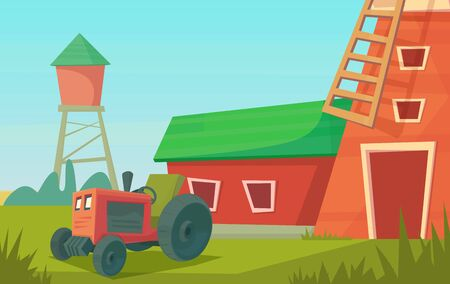 Agriculture. Farm rural landscape with red windmill and tractor
