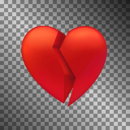 Heart broken icon. UI element. Symbol of love afflictions. Vector illustration with translucent background.