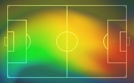 Football or soccer field with heat map for moving and location player during the game. Soccer game statistics or strategy. Vector illustration.