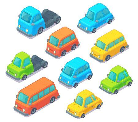 Zestaw samochodów izometrycznych. Styl kreskówki. Transport miejski, w tym samochód, autobus i ciężarówka. Na białym tle.