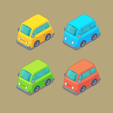 Set of isometric cars. Cartoon style. City transport.