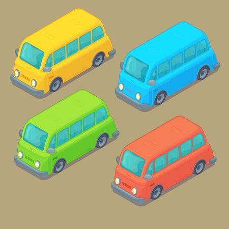 Set of isometric bus. Cartoon style. City transport.