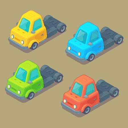 Set of isometric truck. Cartoon style. City transport.