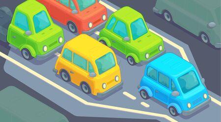 Bottleneck traffic jam. Road dence traffic on motorway or highway. Different car on road.