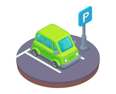 Parking lot area with car and road sign. Concept isoometric cartoon vector illustration.