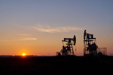 Technological oil and gas production. Production, transportation and processing of oil and gas. Production for the world's population. Stock Photo