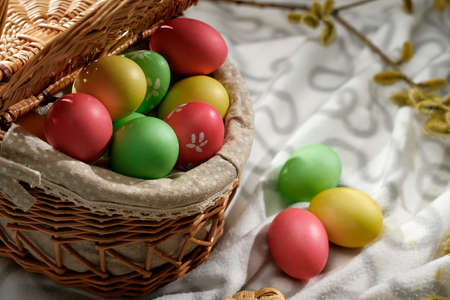 Happy Easter! Holiday cake. Painted eggs. The most joyful and most revered holiday in the Orthodox world.
