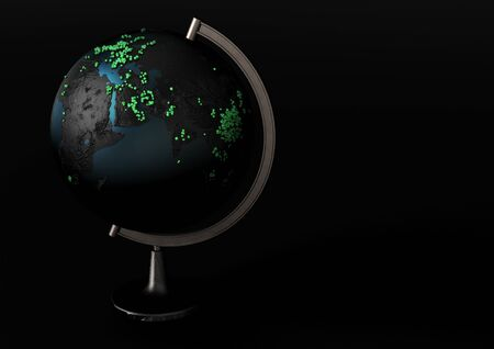 Pandemia Coronavirus (COVID-19) clung to the black globe. Symbolic 3d infographics on countries affected by the epidemic Coronavirus (COVID-19)
