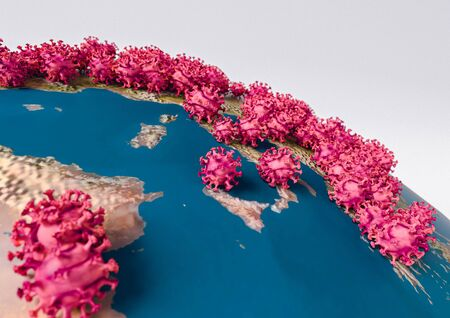 Pandemia Coronavirus (COVID-19) clung to the Europe on the globe. Symbolic 3d infographics on countries affected by the epidemic Coronavirus (COVID-19) in Europe.