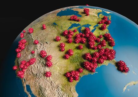 Pandemia Coronavirus (COVID-19) clung to the USA on the globe. Symbolic 3d infographics on countries affected by the epidemic Coronavirus (COVID-19) in Europe.