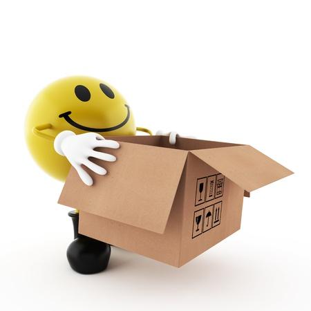 Smiley, die een kartonnen doos op een witte achtergrond geà ¯ soleerd Stockfoto