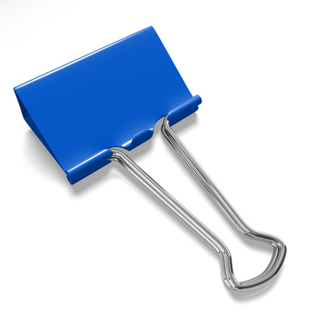 binder clip: Blue binder clip on a white background