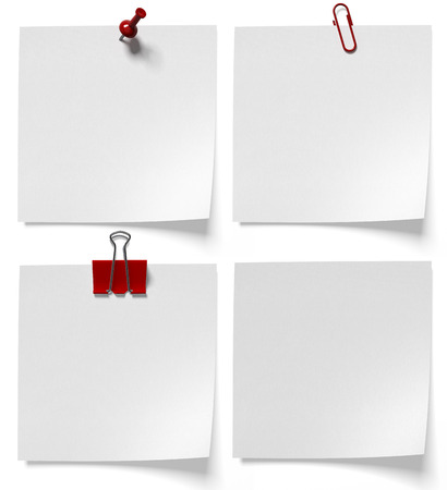 stationery paper clips, buttons and paper clip on a white background Imagens