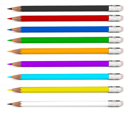colored pencils on a white background isolated photo
