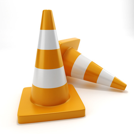 Two traffic cone on a white background isolated photo