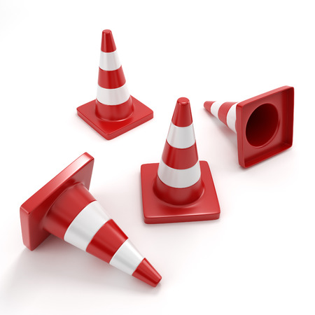 redirection: Red traffic cone on a white background isolated Stock Photo