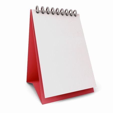 Kalender wit sjablonen op rode ondergrond op een witte achtergrond geà ¯ soleerd Stockfoto